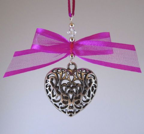 Silver Tone Tibetan Heart, Fuchsia Pink Satin Edge Ribbon Bow & Crystal - Xmas Tree Decoration
